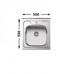 Nerūdijančio plieno plautuvė 7404 0.8 mm uždedama su sifonu